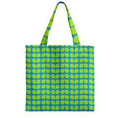Blue Lime Leaf Pattern Zipper Grocery Tote Bags