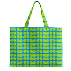 Blue Lime Leaf Pattern Zipper Tiny Tote Bags