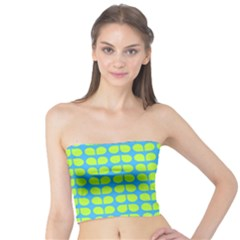 Blue Lime Leaf Pattern Women s Tube Tops