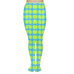 Blue Lime Leaf Pattern Women s Tights