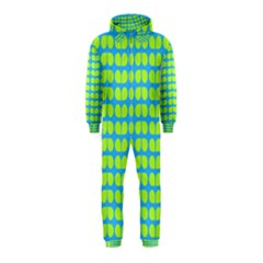 Blue Lime Leaf Pattern Hooded Jumpsuit (Kids)