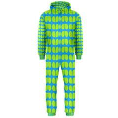 Blue Lime Leaf Pattern Hooded Jumpsuit (men)
