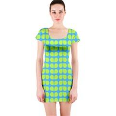 Blue Lime Leaf Pattern Short Sleeve Bodycon Dresses