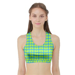 Blue Lime Leaf Pattern Women s Sports Bra with Border