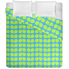 Blue Lime Leaf Pattern Duvet Cover (double Size)