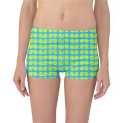 Blue Lime Leaf Pattern Reversible Boyleg Bikini Bottoms