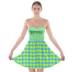 Blue Lime Leaf Pattern Strapless Bra Top Dress