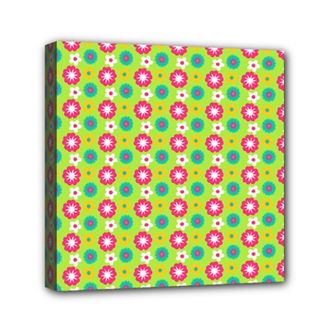 Cute Floral Pattern Mini Canvas 6  X 6