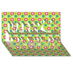 Cute Floral Pattern Happy Birthday 3D Greeting Card (8x4)