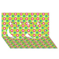 Cute Floral Pattern Twin Hearts 3D Greeting Card (8x4)