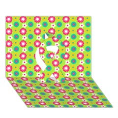 Cute Floral Pattern Ribbon 3D Greeting Card (7x5)