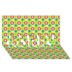 Cute Floral Pattern Sorry 3d Greeting Card (8x4)