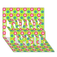 Cute Floral Pattern THANK YOU 3D Greeting Card (7x5)