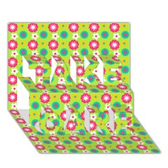 Cute Floral Pattern Take Care 3d Greeting Card (7x5)