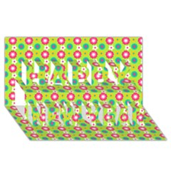 Cute Floral Pattern Happy New Year 3d Greeting Card (8x4)