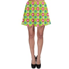 Cute Floral Pattern Skater Skirts