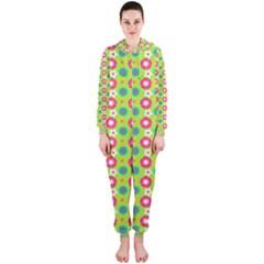 Cute Floral Pattern Hooded Jumpsuit (ladies)
