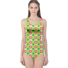 Cute Floral Pattern Women s One Piece Swimsuits