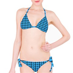 Blue Gray Leaf Pattern Bikini Set