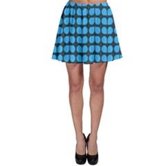 Blue Gray Leaf Pattern Skater Skirts