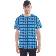Blue Gray Leaf Pattern Men s Sport Mesh Tees