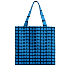 Blue Gray Leaf Pattern Zipper Grocery Tote Bags