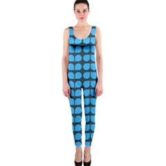 Blue Gray Leaf Pattern Onepiece Catsuits