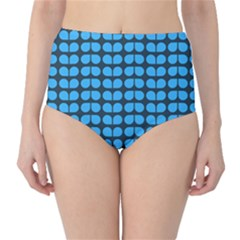 Blue Gray Leaf Pattern High Waist Bikini Bottoms