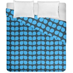Blue Gray Leaf Pattern Duvet Cover (double Size)