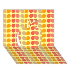 Colorful Leaf Pattern Apple 3D Greeting Card (7x5)