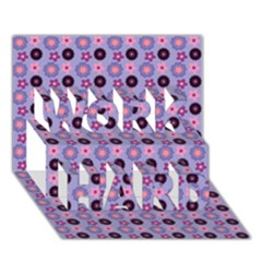 Cute Floral Pattern WORK HARD 3D Greeting Card (7x5)