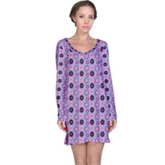 Cute Floral Pattern Long Sleeve Nightdresses