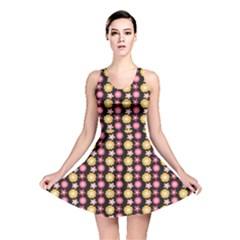 Cute Floral Pattern Reversible Skater Dresses