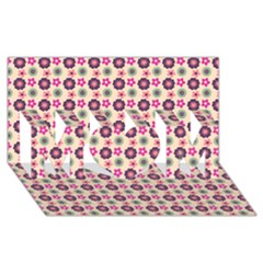 Cute Floral Pattern MOM 3D Greeting Card (8x4)
