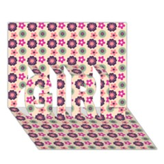 Cute Floral Pattern GIRL 3D Greeting Card (7x5)