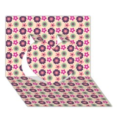 Cute Floral Pattern Heart 3D Greeting Card (7x5)