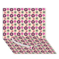 Cute Floral Pattern Heart Bottom 3D Greeting Card (7x5)