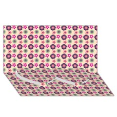 Cute Floral Pattern Twin Heart Bottom 3d Greeting Card (8x4)