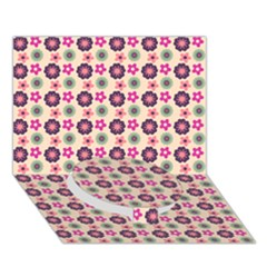 Cute Floral Pattern Circle Bottom 3d Greeting Card (7x5)