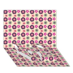 Cute Floral Pattern LOVE Bottom 3D Greeting Card (7x5)