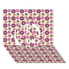 Cute Floral Pattern Peace Sign 3d Greeting Card (7x5)