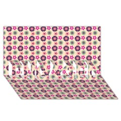 Cute Floral Pattern Engaged 3d Greeting Card (8x4)