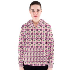 Cute Floral Pattern Women s Zipper Hoodies