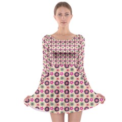 Cute Floral Pattern Long Sleeve Skater Dress