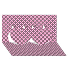 Cute Pretty Elegant Pattern Twin Hearts 3d Greeting Card (8x4)
