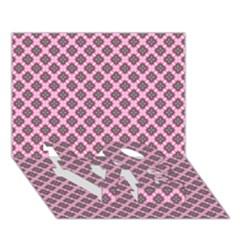 Cute Pretty Elegant Pattern LOVE Bottom 3D Greeting Card (7x5)