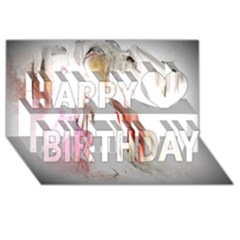 Abstract Angel in White Happy Birthday 3D Greeting Card (8x4)