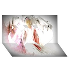 Abstract Angel in White Twin Hearts 3D Greeting Card (8x4)