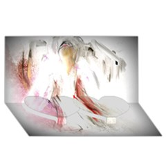 Abstract Angel in White Twin Heart Bottom 3D Greeting Card (8x4)