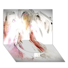 Abstract Angel in White Circle Bottom 3D Greeting Card (7x5)